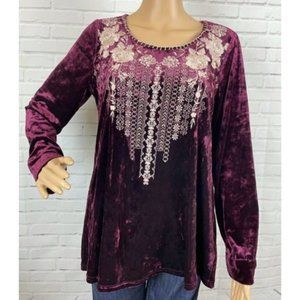 Andree by Unit Velvet Embroidered Maroon Top